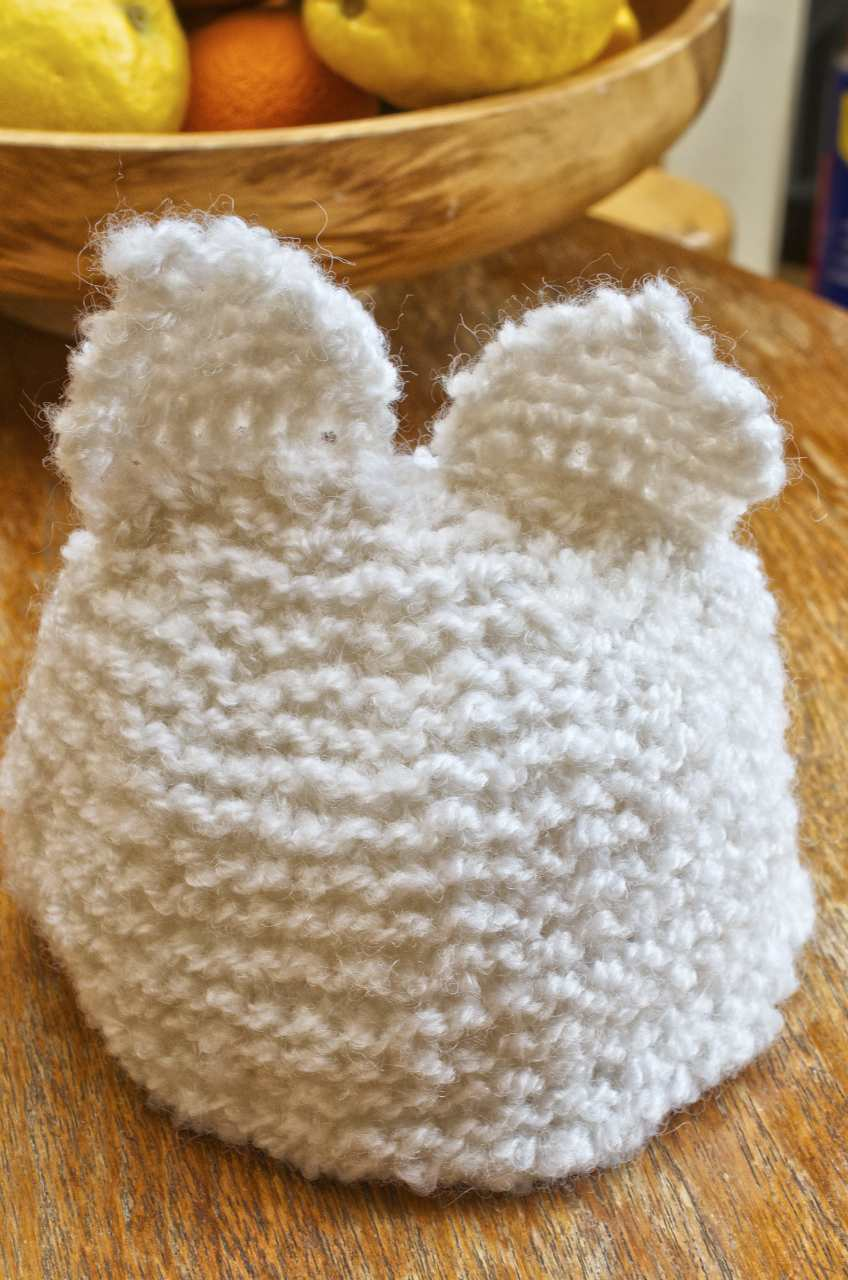 Beginner Knitting Kit - Baby Hat with Ears - White - Charlie Button ...