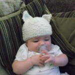 Our first finished Knit Kit image! The baby hat with ears in action! Thanks Bev!